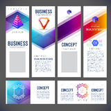 Corporate identity kit or business kit with abstract backgrounds. Of geometric and line frame shapes. Envelopes, letterheads, business cards, banners, flyers Stock Photo