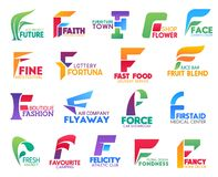 F letter corporate identity, business icons. Corporate identity letter F business icons. Vector ecology and religion, furniture and floristry, beauty and art stock illustration