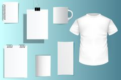 Corporate identity mockup template white vector realistic. Mock. Up cover set for brand. T-shirt, smartphone, mug, flyer, notepad blank. Brochure size A4, a5 stock illustration