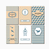 Corporate identity mockup templates with thethe birds and vintage birdcages. Royalty Free Stock Images