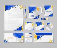 Corporate identity mockup vector template -  blue yellow Stock Photo