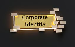 Corporate Identity modern golden sign. With golden cubes around and glowing neon light on the black wall , 3d rendered Stock Photos