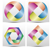 Corporate identity Pack design with logo. Vector modern colorful abstract circular logo design 4 set. with 4 bows in colors of rainbow. (Very nice on any color Stock Photography