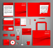 Corporate Identity. Red set with wavy lines. Stock Images