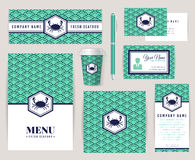 Corporate identity for a seafood restaurant. Stock Photo