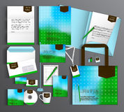 Corporate Identity set with abstract background. Blue and green corporate identity template design with abstract background. Business set stationery Stock Photo
