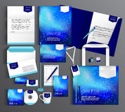 Corporate Identity set with abstract background. Blue corporate identity template design with abstract background. Business set stationery Royalty Free Stock Images