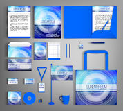 Corporate Identity set with abstract background. Blue corporate identity template design with abstract background. Business set stationery Royalty Free Stock Image