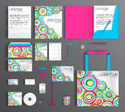 Corporate Identity set with abstract pattern with round brush st Royalty Free Stock Photography