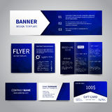 Corporate Identity Set. Banner, flyers, brochure, business cards, gift card design templates set with geometric triangular blue background. Corporate Identity Royalty Free Stock Photo