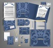 Corporate Identity set with blue vintage design. Stock Image