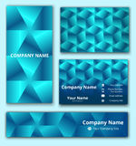Corporate identity set of business card, banner and invitation card with 3D geometrical design in blue shades. Corporate identity set of business card, banner Stock Photography
