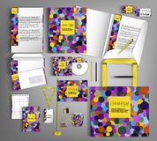 Corporate Identity. Set with colorful designs. Corporate identity template design with colorful circles. Business set stationery in typographic style, brochure stock illustration