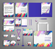 Corporate Identity. Set with colorful designs. Corporate identity template design with colorful stripes. Business set stationery, brochure, card, letterhead royalty free illustration