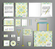 Corporate Identity set with with ethno pattern. Multicolor corporate identity template design with ethno pattern. Business set stationery royalty free illustration