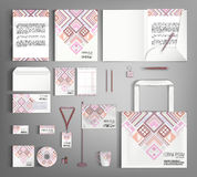 Corporate Identity set with with  ethno pattern. Royalty Free Stock Image