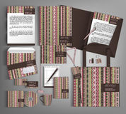 Corporate Identity set with with  ethno pattern. Multicolor corporate identity template design with  ethno pattern. Business set stationery Stock Photo