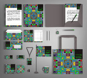 Corporate Identity set with ethno pattern. Stock Photos