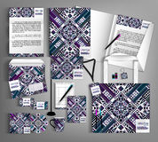 Corporate Identity set with with  ethno pattern. Stock Image