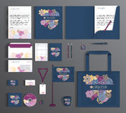 Corporate Identity set with floral pattern. Stock Photography