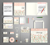 Corporate Identity set with floral pattern. Royalty Free Stock Image