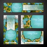 Corporate Identity Set of Floral Templates Royalty Free Stock Photo