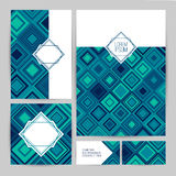 Corporate Identity. Set flyers, business cards, booklets, badge template. Template design with modern geometric. Triangular blue pattern. Concept for the royalty free illustration