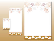 Corporate Identity Set - Ginkgo Leaves. Pattern in Beige and Brown Colors royalty free illustration