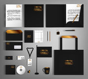 Corporate Identity set with gold vintage design elements. Royalty Free Stock Photos