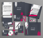 Corporate Identity. Set with  gray and pink design. Royalty Free Stock Photography