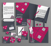 Corporate Identity. Set with  gray and pink design. Royalty Free Stock Photo