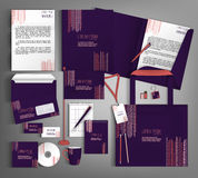 Corporate Identity. Set with  purple and terracotta design. Royalty Free Stock Image