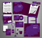 Corporate Identity set with spots. Suitable for brand advertisin. Purple corporate identity template design with spots. Business set stationery, brochure, card royalty free illustration