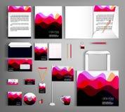 Corporate Identity. Set with wavy stripesl designs. Corporate identity template design with wavy stripes. Business set stationery, brochure, card, letterhead stock illustration