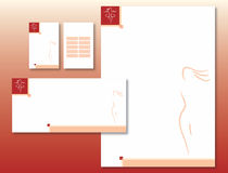 Corporate Identity Set - Woman Body Icon in Red Stock Images