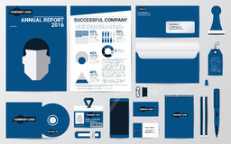 Corporate identity and stationary in blue theme template Royalty Free Stock Photo