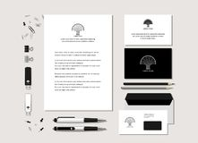 Corporate identity with the stylized tree. The neutral black-and-white corporate identity with the stylized tree. Samples of business cards, a flash card, a pen Stock Illustration