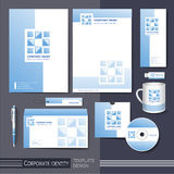 Corporate identity template with blue square elements. Royalty Free Stock Photo