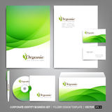 Corporate identity template for business artworks. Editable corporate identity template - design including CD, letterhead blank, envelope and visiting card royalty free illustration