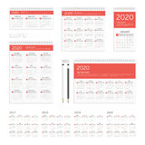 Corporate identity template calendar. Set of 2017, 2018, 2019 and 2020 calendar template brochure geometric design. Corporate identity template set. Branding Stock Photography