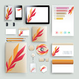 Corporate identity template with color elements. Vector company business style for brandbook, report and guideline. Stationery tem Stock Image