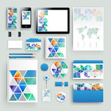 Corporate identity template with color elements. Vector company business style for brandbook, report and guideline. Stationery tem Stock Photography