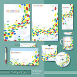Corporate identity template with colorful square distorted eleme Stock Image