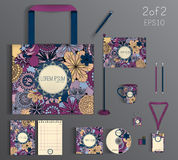 Corporate identity template design with floral pattern. Royalty Free Stock Image