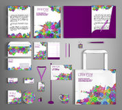 Corporate identity template design with floral pattern. Royalty Free Stock Photos
