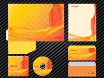 Corporate identity template design orange color business set stationery. Folder, letterhead, envelope, cover, brochure, catalog, flyer and leaflet stock illustration