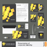 Corporate identity template with digital gold elements Royalty Free Stock Images