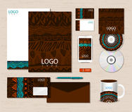 Corporate identity template with ethnic ornaments. Royalty Free Stock Images