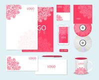 Corporate identity template with floral ornament Royalty Free Stock Photography