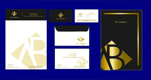 Corporate identity template golden style Logo AB. Brawn Black withe golden Corporate identity stock illustration